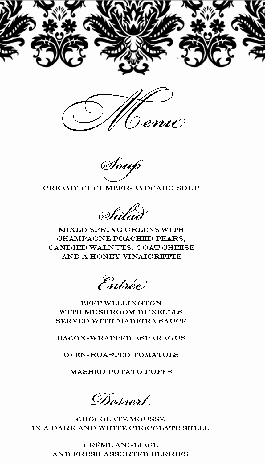 3 Course Meal Menu Templates Luxury Stranded In Cleveland Elegant Dinner Party Menu