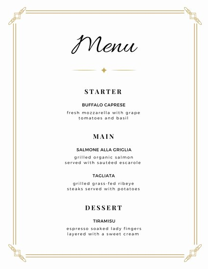 3 Course Meal Menu Templates New Customize 273 Wedding Menu Templates Online Canva