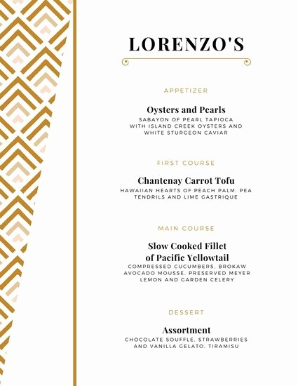 3 Course Meal Menu Templates New formal Dinner Menu Template