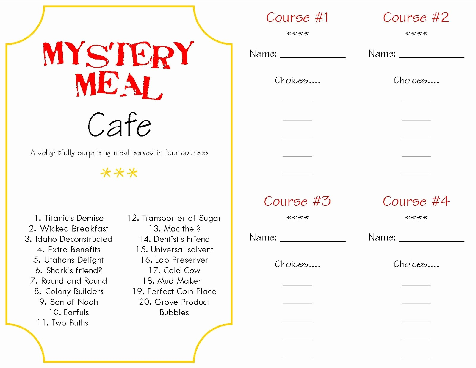 3 Course Meal Menu Templates New Make A Memory Mystery Dinner A Little Tipsy