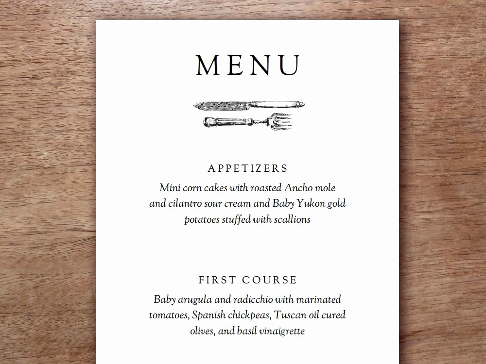 3 Course Meal Menu Templates New Printable Menu Kate & Wills