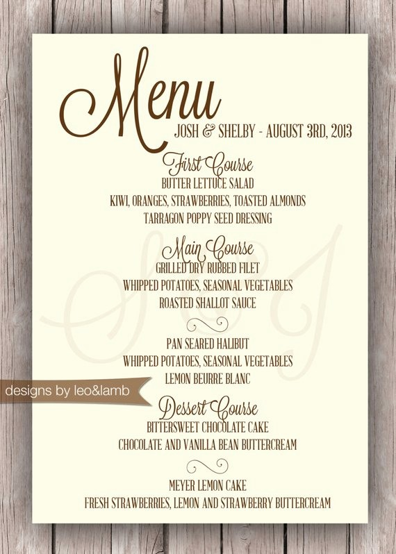 3 Course Meal Menu Templates New Wedding or Rehearsal Dinner Menu Printable by
