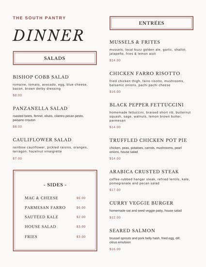 3 Course Meal Menu Templates Unique Customize 2 221 Menu Templates Online Canva