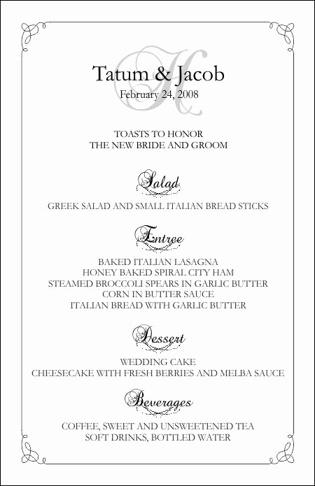 3 Course Meal Menu Templates Unique Wedding Menu Templates