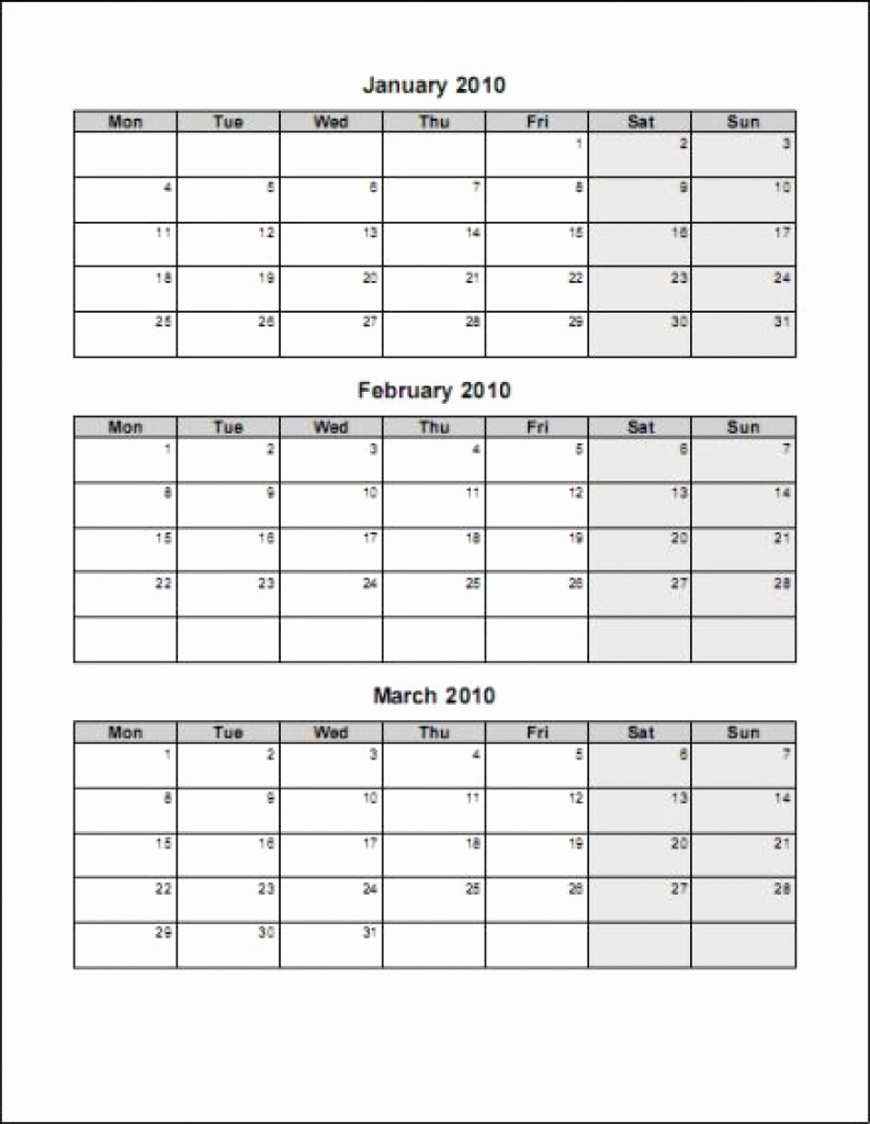 3 Month Blank Calendar Template Awesome Printable 3 Month Calendar Template – Calendar Printable