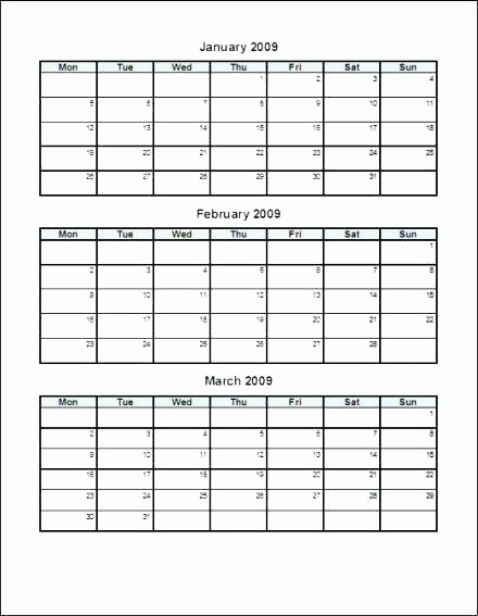 3 Month Blank Calendar Template Beautiful 3 Month Calendar Template 2016 Printable – Metforminfo