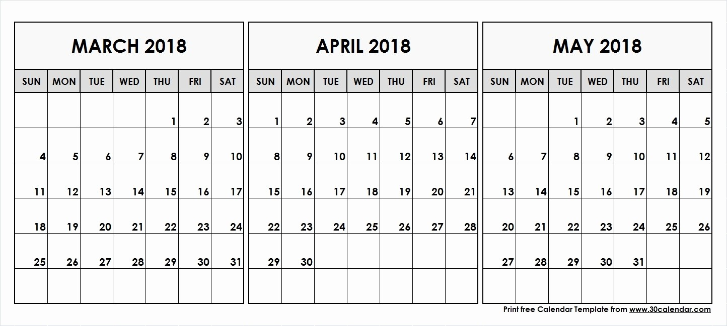 3 Month Blank Calendar Template Best Of March April May Calendar 2018 Blank 3 Month Calendar