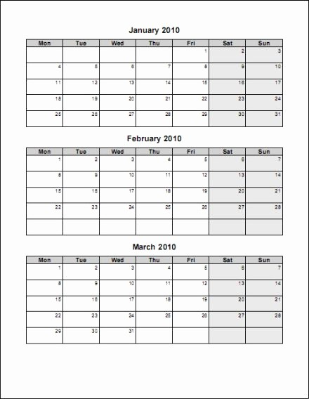 3 Month Blank Calendar Template Elegant 3 Month Calendar Template Word