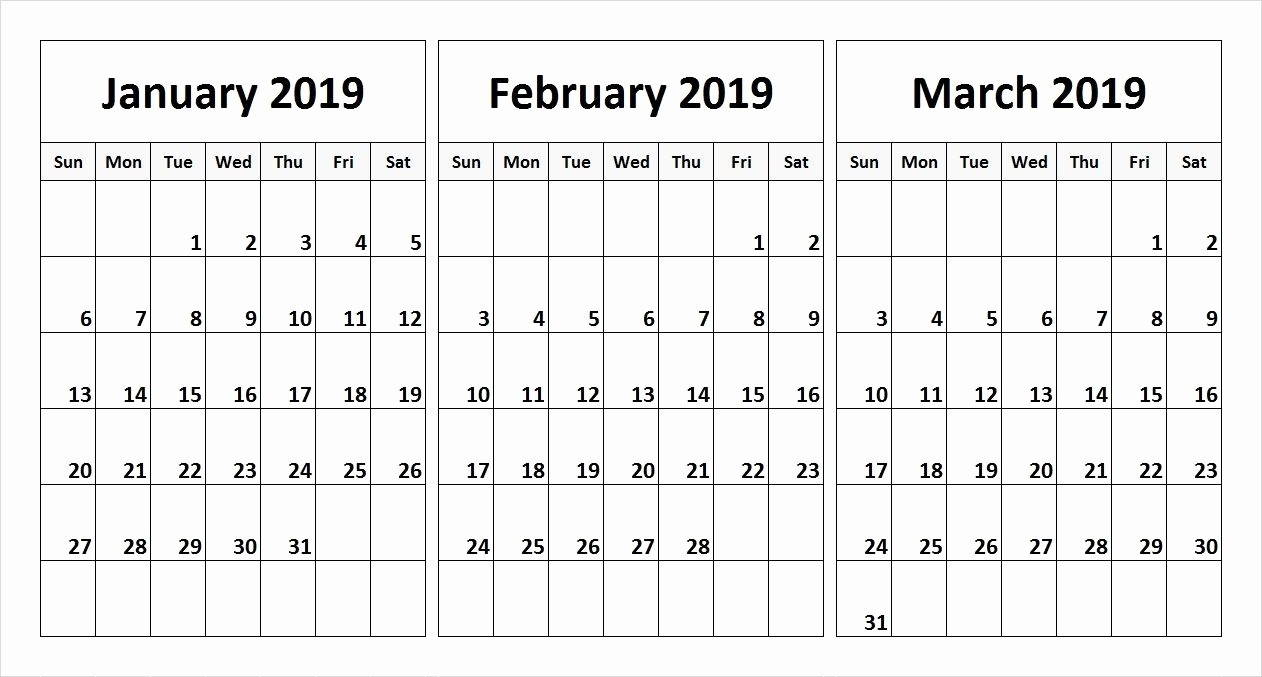 3 Month Blank Calendar Template Inspirational January February March 2019 Calendar In Pdf Word Excel