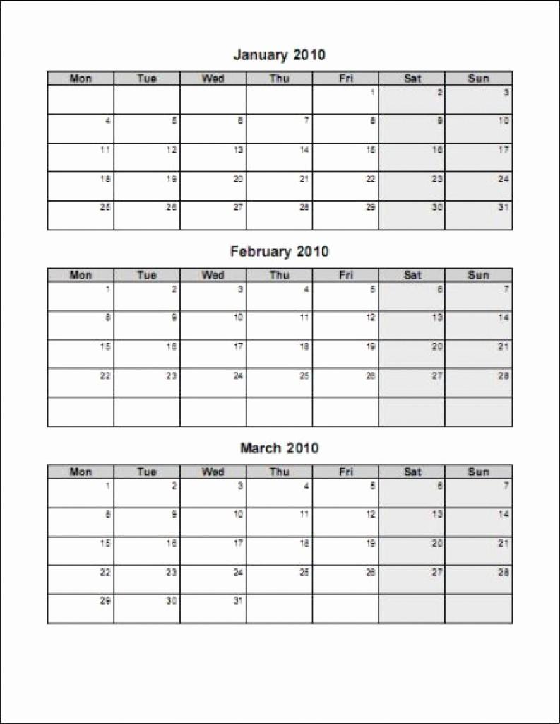3 Month Blank Calendar Template Inspirational Printable 3 Month Calendar Template – Calendar Printable