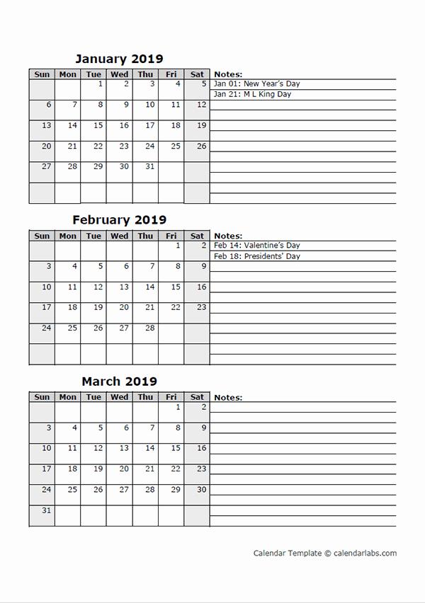 3 Month Blank Calendar Template Luxury Free 2019 Quarterly Calendar Printable 3 Month Templates