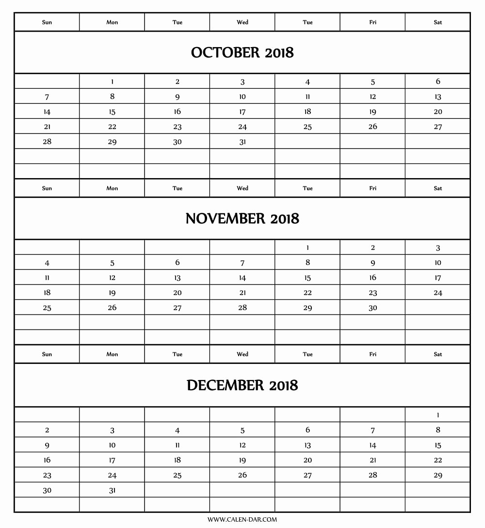 3 Month Blank Calendar Template Unique 3 Month Calendar Printable with Notes September October