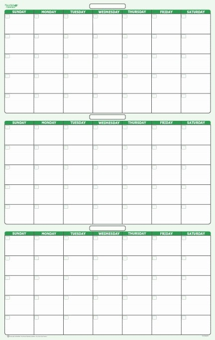 "3 Month Blank Calendar Template Unique 90 Day 3 Month Dry Erasable Wall Calendar 24"" X 38"""