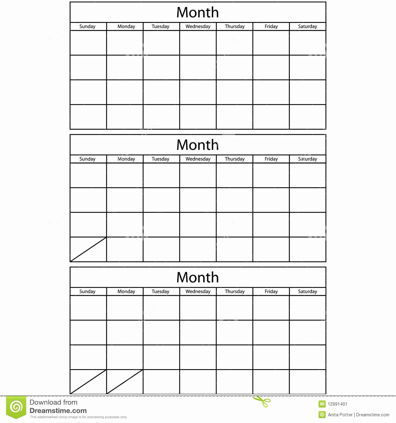 3 Month Blank Calendar Template Unique Blank Calendar 3 Templates Stock Vector Illustration Of