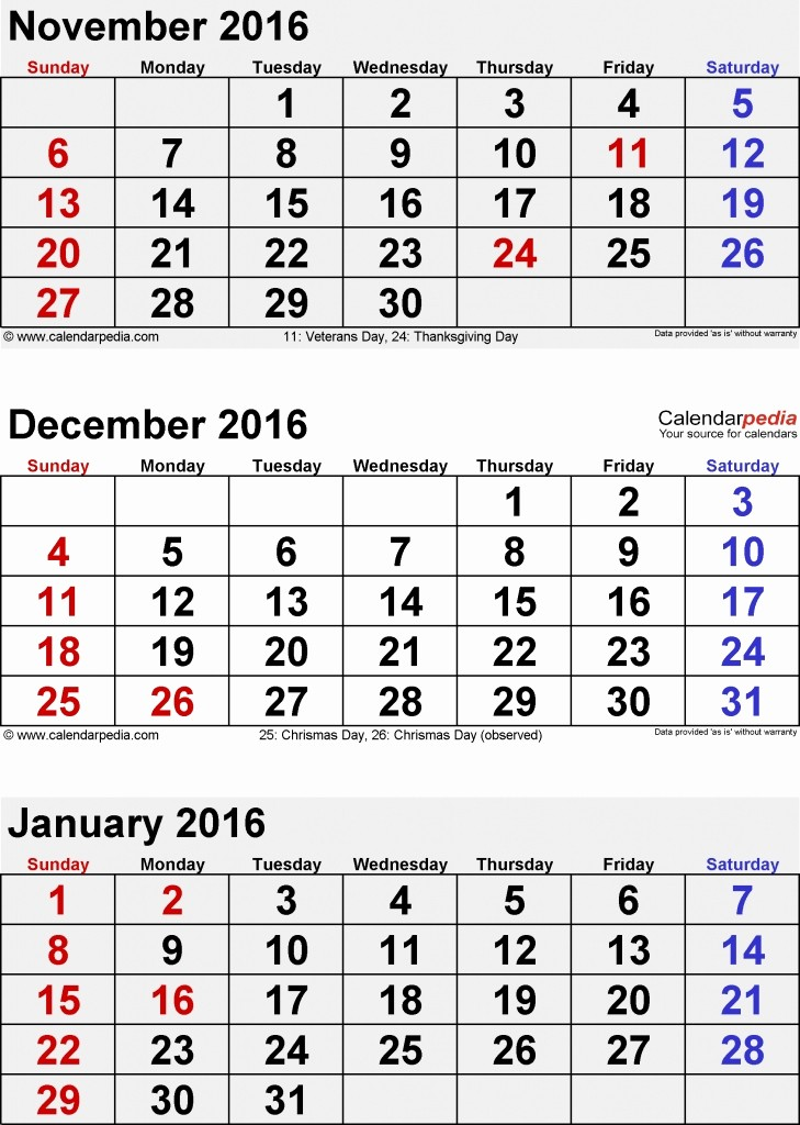 3 Month Calendar 2016 Template Awesome Template Trove 3 Month Calendar