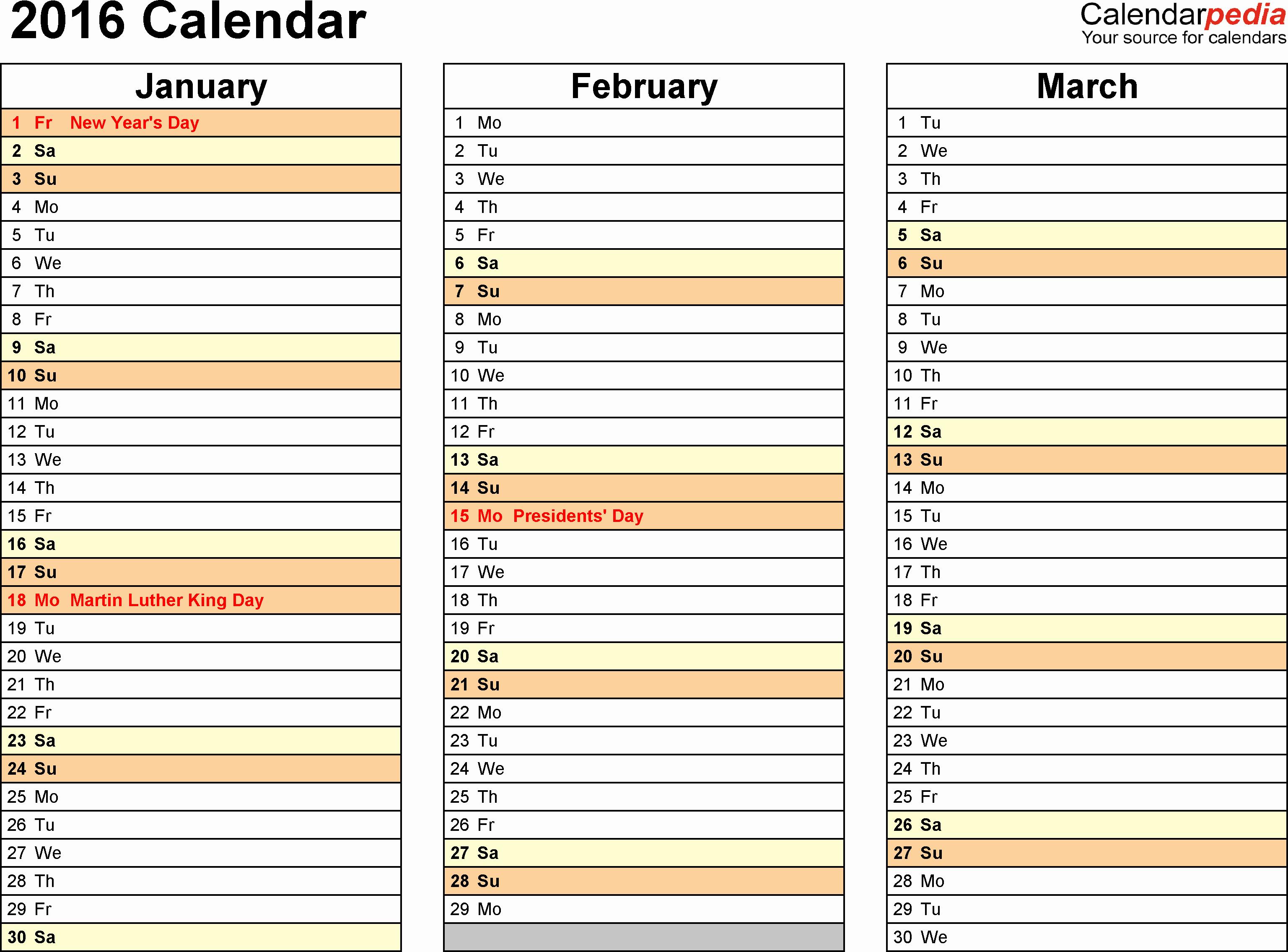3 Month Calendar 2016 Template Fresh 2016 Printable Calendar Templates 3 Month