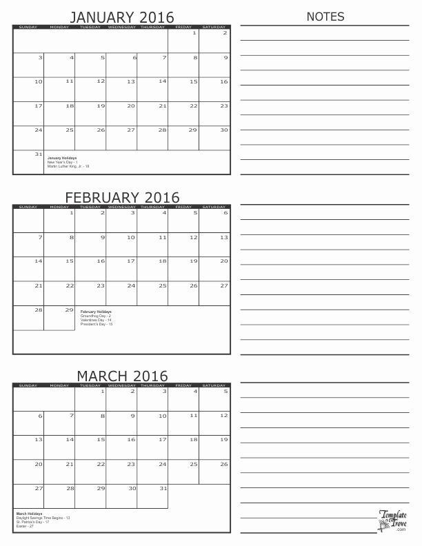 3 Month Calendar 2016 Template Fresh 3 Month Calendar 2016