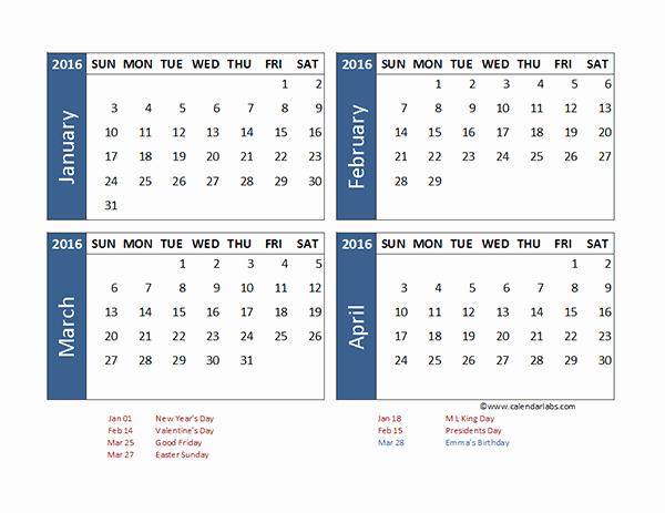 3 Month Calendar 2016 Template Inspirational 2016 Excel 4 Month Calendar Template Free Printable