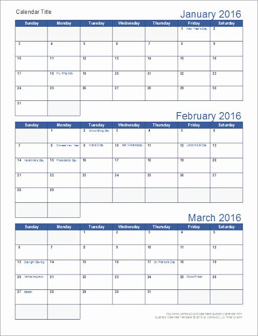 3 Month Calendar 2016 Template Inspirational Vertex42 Calendars 3 Month 2016