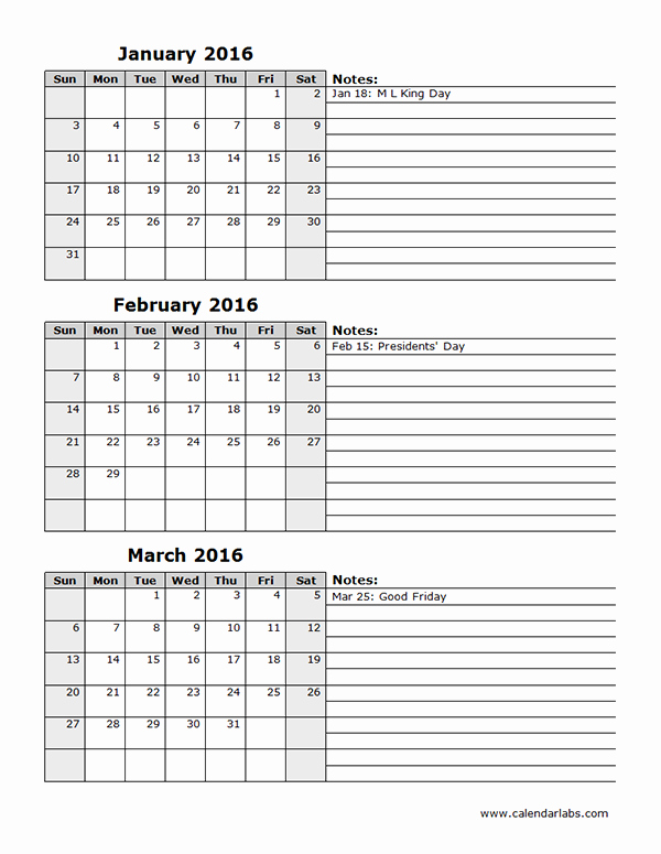 3 Month Calendar 2016 Template New 2016 Three Month Calendar Template 12l Free Printable