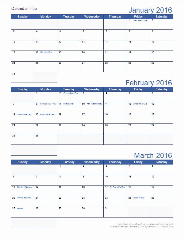 3 Month Calendar Printable 2016 Elegant Quarterly Calendar Template
