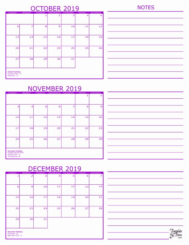 3 Month Calendar Printable 2016 Fresh 3 Month Calendar 2019