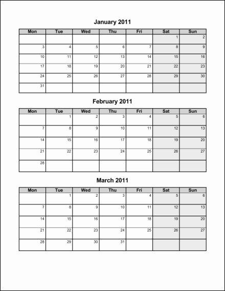 3 Month Calendar Printable 2016 Fresh 7 Best Of 2016 Calendar Printable Quarterly