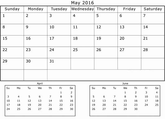 3 Month Calendar Printable 2016 Fresh Get Printable Calendar April May June 3 Months Printable