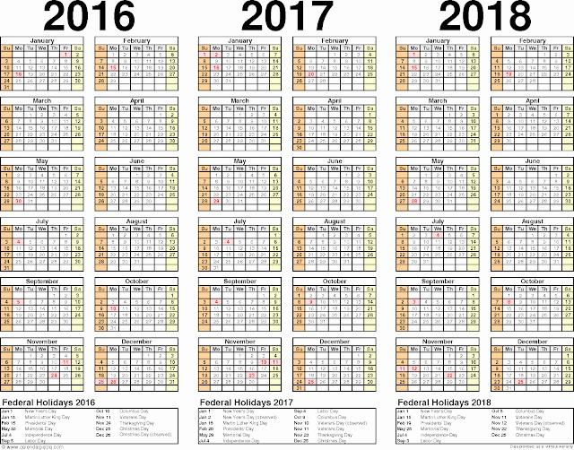 3 Month Calendar Printable 2016 New 2016 2017 2018 Calendar 3 Year Printable