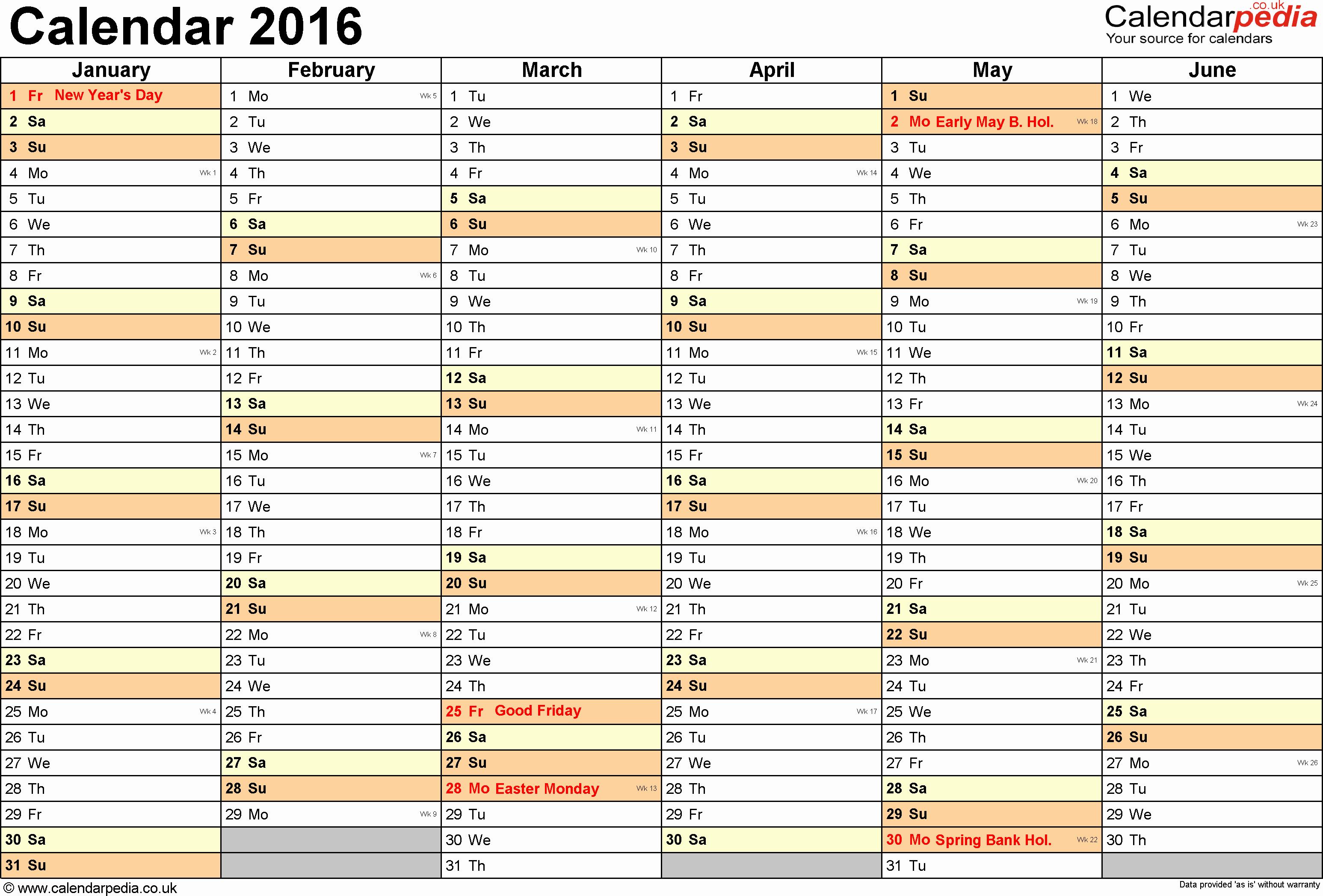 3 Month Calendar Printable 2016 New Excel Calendar 2016 Uk 16 Printable Templates Xlsx Free