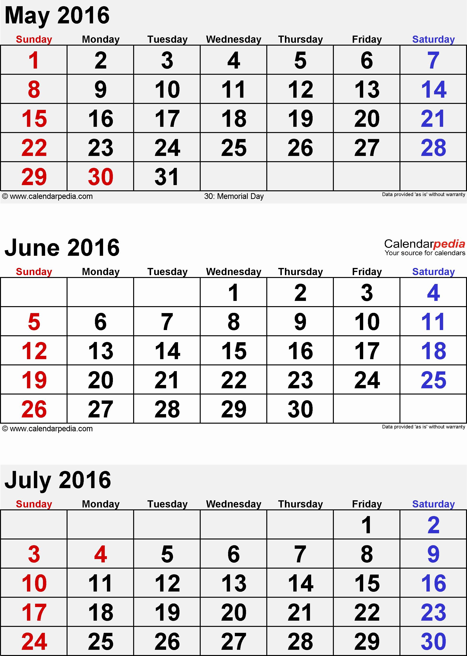 3 Month Calendar Printable 2016 Unique Free 3 Month Calendar Printable May June July 2016