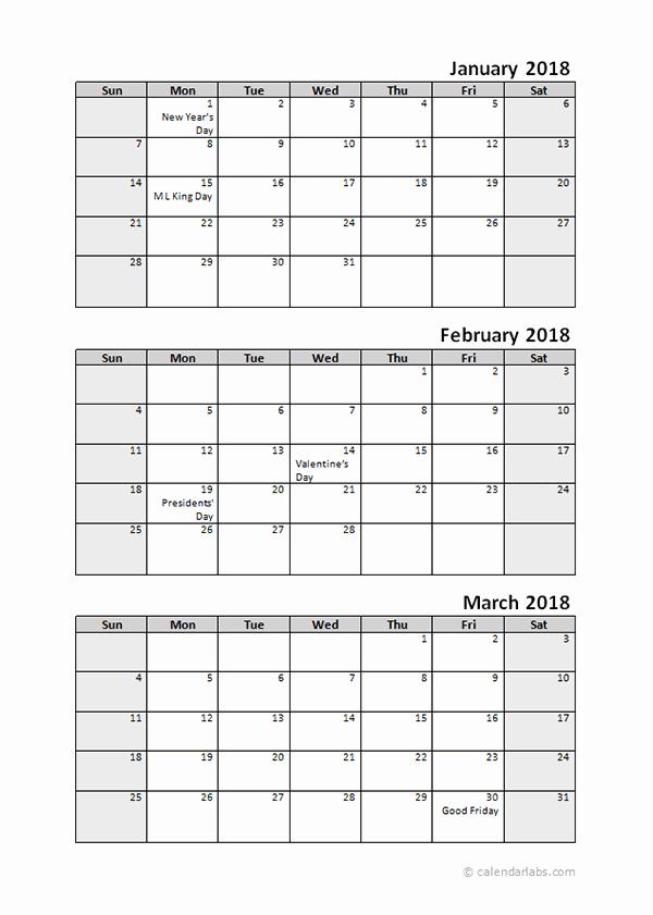 3 Month Calendar Template Word Beautiful Printable 2018 Quarterly Calendar 3 Months Templates