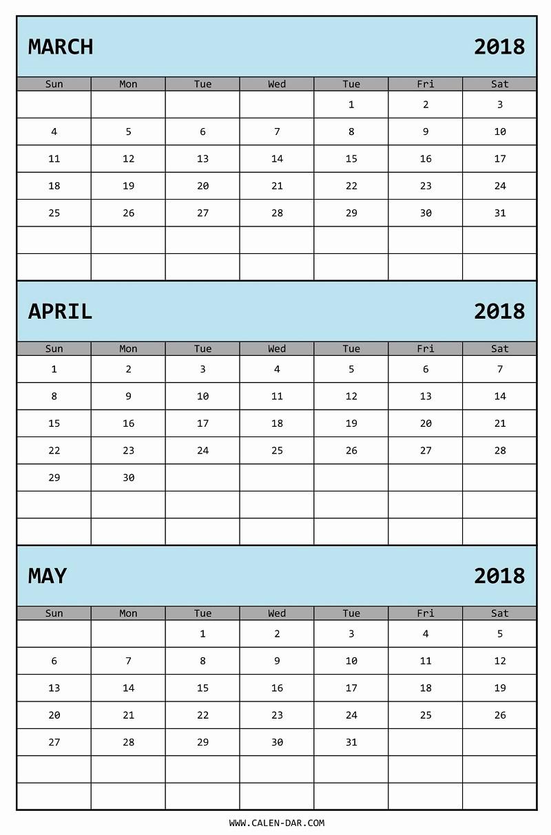 3 Month Calendar Template Word Inspirational 3 Month Word 2018 Calendar Template