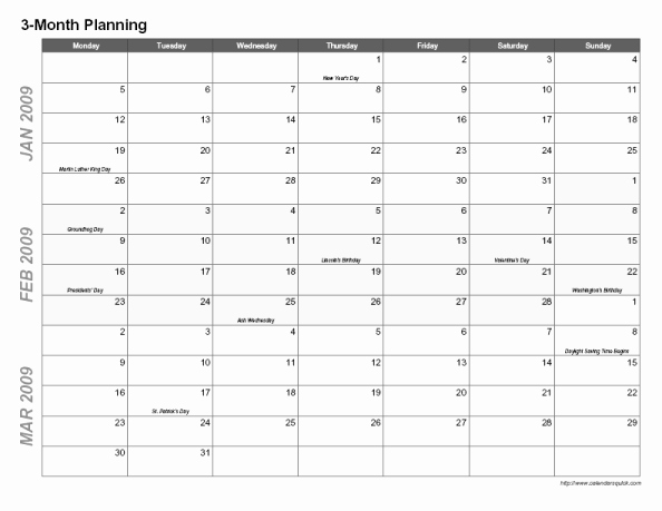 3 Month Calendar Template Word Unique Best S Of 3 Month Planner Template 3 Month Calendar