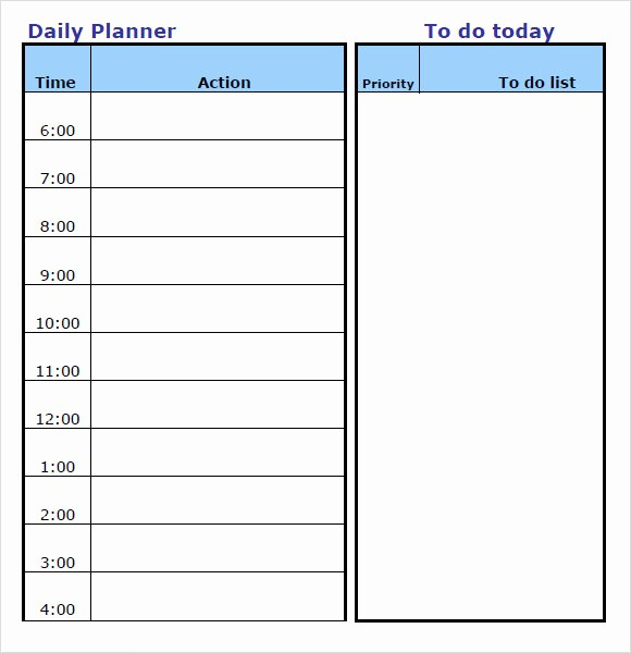 30 Day Calendar Template Word Lovely 9 Daily Planner Templates – Free Samples Examples