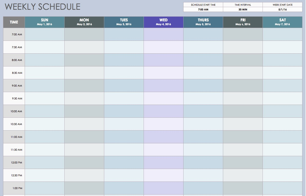 30 Day Calendar Template Word Lovely Free Weekly Schedule Templates for Excel Smartsheet