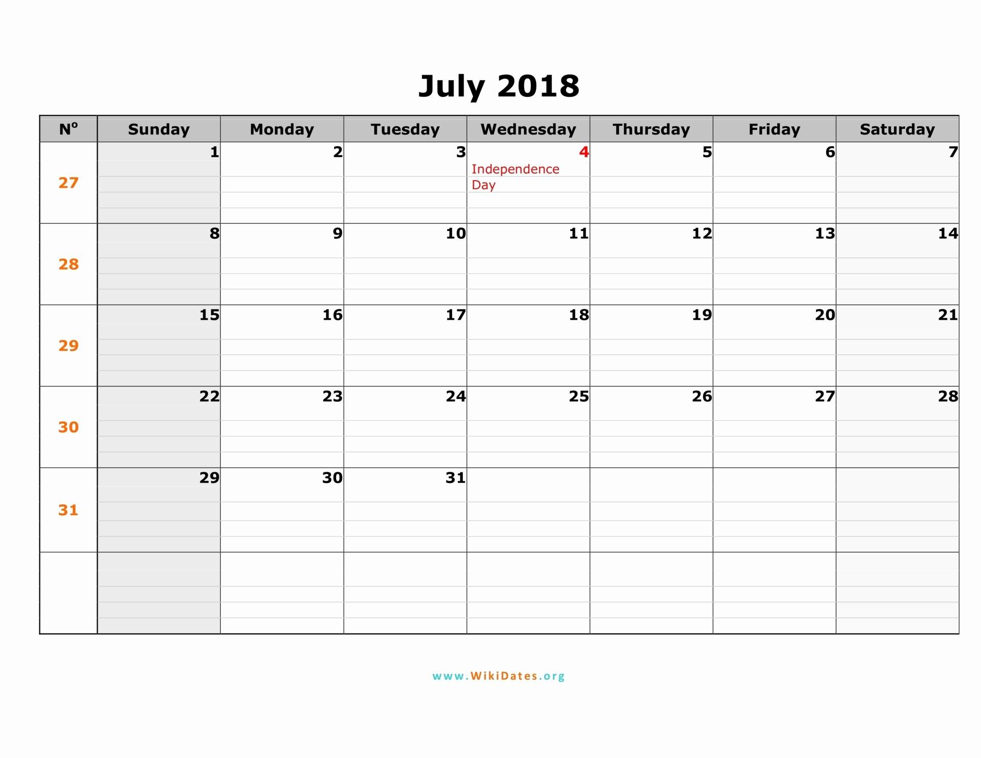 30 Day Calendar Template Word New July 2018 Calendar