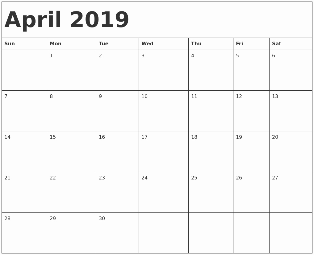 30 Day Calendar Template Word New Printable April 2019 Calendar Template Word Document