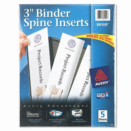 "4 Inch Binder Spine Template Lovely Avery Custom Binder Spine Inserts 3"" Width 3 Sheet 5"