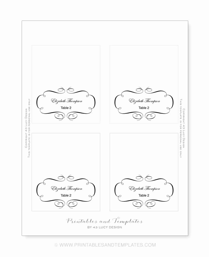 4 Per Page Postcard Template Beautiful 10 Best Of Place Card Template Printable