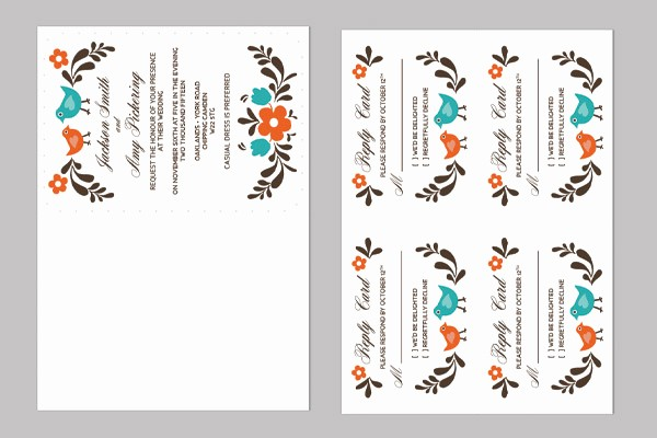 4 Per Page Postcard Template Lovely Diy Folksy Wedding Invitation and Rsvp