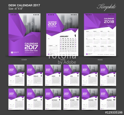 "4 X 6 Calendar Template Fresh ""set Purple Desk Calendar 2017 Year Size 6 X 8 Inch"