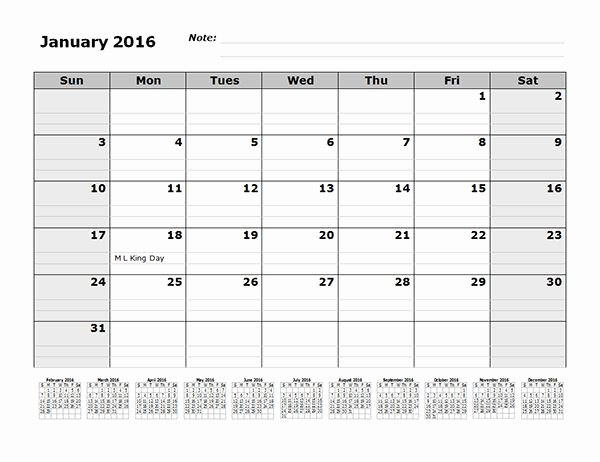 4 X 6 Calendar Template Inspirational 2016 Monthly Calendar Template with 12 Months References