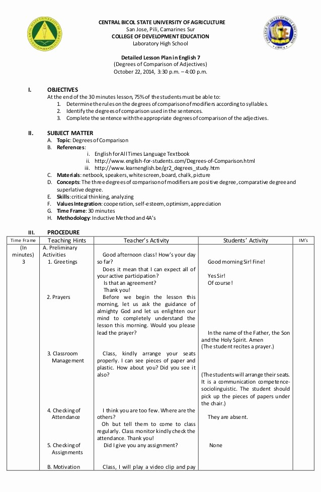 4 Year Degree Plan Template New Lesson Plan On Degrees Of Parison