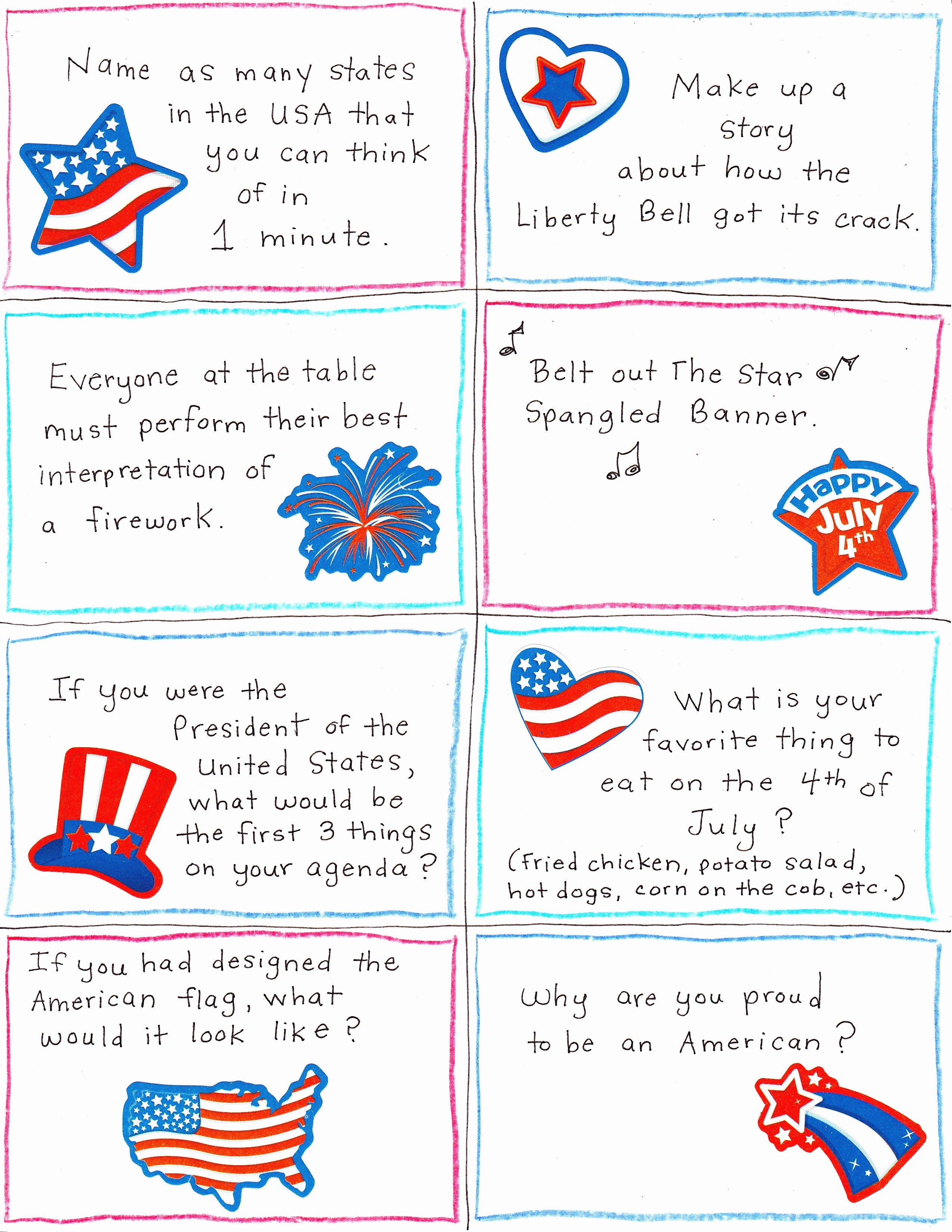 4th Of July Cards Printable Awesome 4th Of July Conversation Starter and Joke Cards Free