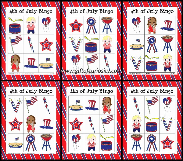 4th Of July Cards Printable Awesome Free Printable 4th Of July Bingo Game Gift Of Curiosity