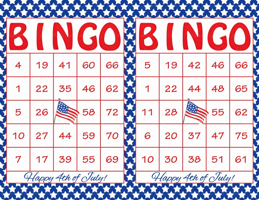 4th Of July Cards Printable Beautiful 60 4th Of July Printable Bingo Cards Patriotic theme Stars