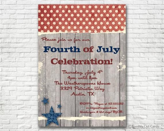 4th Of July Cards Printable Elegant Down Home 4th Of July Invitation Printable or Printed W