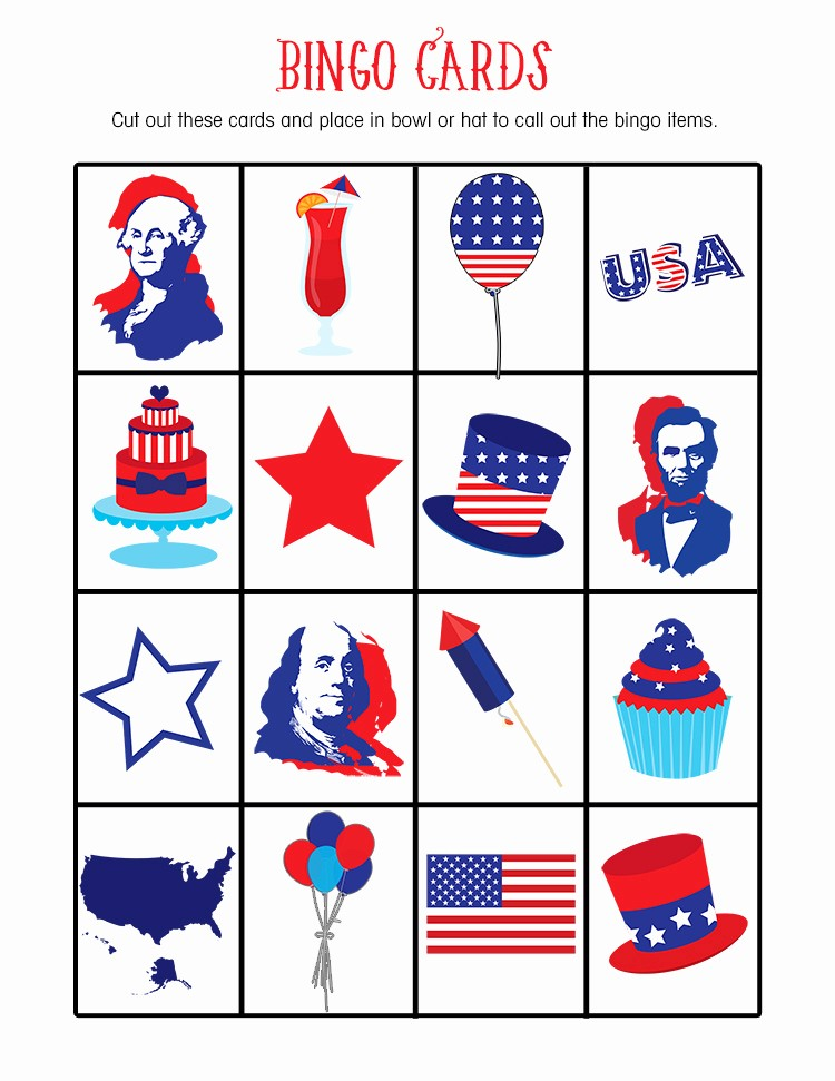 4th Of July Cards Printable Fresh Free 4th July Bingo Printable Lil Luna