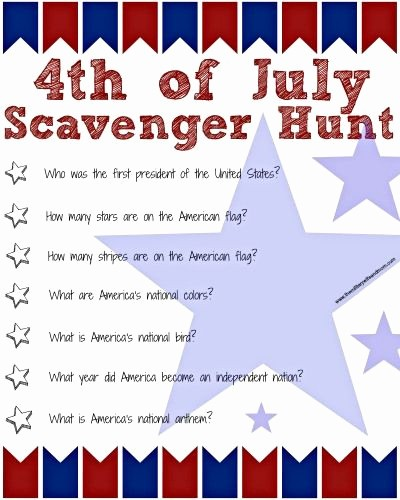 4th Of July Cards Printable Lovely 4th Of July Scavenger Hunt for Kids